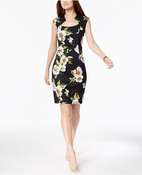 Connected Petite Printed Square-Neck Sheath Dress