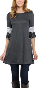 Celeste Charcoal Lace-Sleeve Tunic - Women