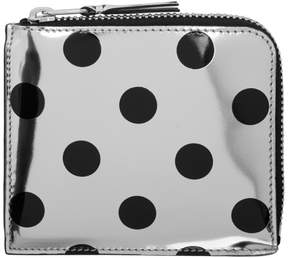 Comme des Garcons Wallets Silver and Black Polka Dot Small Zip Wallet