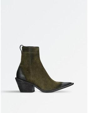 Haider Ackermann Ladies Khaki Modern Zarou Suede Ankle Boots