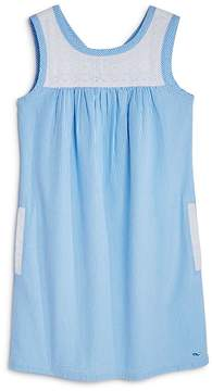 Vineyard Vines Girls' Eyelet Seersucker Shift Dress - Big Kid