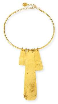 Devon Leigh Gold-Dipped Hammered Medallion Necklace