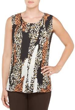 Allison Daley Petites Sleeveless Hi-Lo Leopard Print Tunic