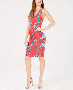 Bar III Ruched Floral-Print Dress, Created for Macy's