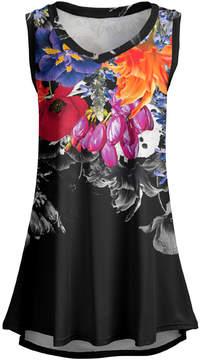 Lily Black Floral Sleeveless Tunic - Women & Plus