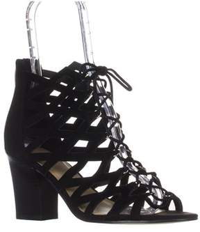 Marc Fisher Blair Lace-up Heeled Sandals, Black Multi Suede.