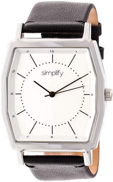 Simplify Silver & Black The 5400 Leather-Strap Watch