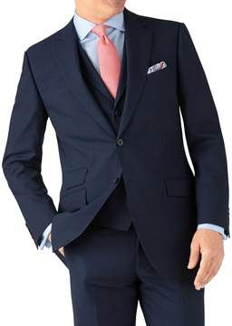 Charles Tyrwhitt Indigo Blue Puppytooth Classic Fit Panama Business Suit Wool Jacket Size 38