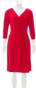 Tahari Pleated Surplice Dress