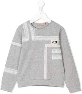 No.21 Kids lace detail sweatshirt