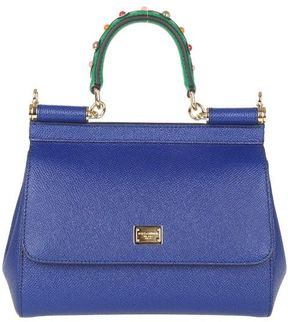 Dolce & Gabbana Small Sicily Bag In Dauphine Leather With Embellished Handle - BLUE - STYLE