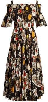 Dolce & Gabbana Card and heart print off-the-shoulder dress
