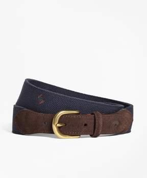 Brooks Brothers Medallion-Embroidered Cotton Belt