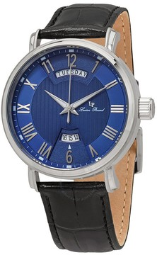 Lucien Piccard Blue Dial Black Leather Men's Watch
