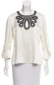 Andrew Gn Satin Eyelet Top