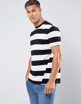 MANGO Man Block Stripe T-Shirt With Twist Feature In Black And White