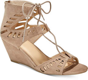 Material Girl Halona Perforated Wedge Sandals, Created for Macy's Women's Shoes