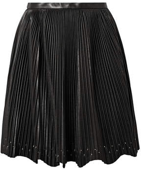 Elie Saab Studded Plissé-leather Mini Skirt - Black
