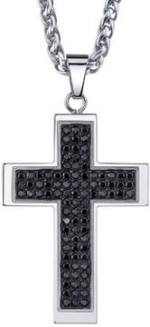 JCPenney FINE JEWELRY Mens Stainless Steel & Black Cubic Zirconia Cross Pendant Necklace