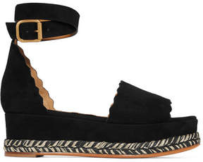 Chloé Lauren Suede Espadrille Platform Sandals - Black