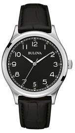 Bulova Black Leather Black Quartz Analog Men's Watch 96B233