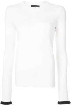 Derek Lam Crewneck Pullover With Contrast Ruffle Cuff