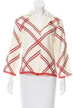 Agnona Silk Plaid Top