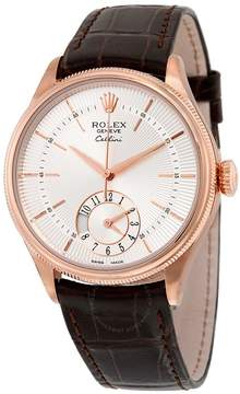 Rolex Cellini Dual Time Silver Dial 18kt Everose Gold Men's Watch