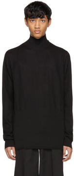 Rick Owens Black Oversized Merino Geo Turtleneck
