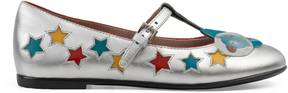 Gucci Children's metallic leather ballet flat with stars