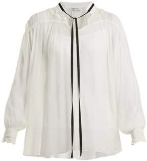 Amanda Wakeley Ruched crinkle-chiffon blouse