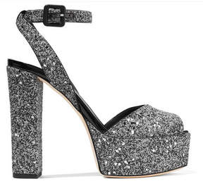 Giuseppe Zanotti Betty Glittered Leather Platform Sandals - Silver