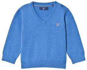 Gant Blue Cotton V Neck Jumper