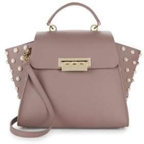 Zac Posen Eartha Leather Faux Pearl Trapeze Bag