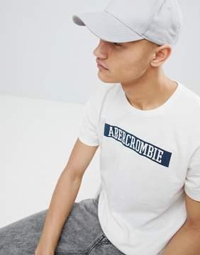 Abercrombie & Fitch Varsity Chest Logo Slub T-Shirt in White