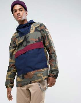 Herschel Voyage Packable Overhead Anorak in Camo/Navy/Wine