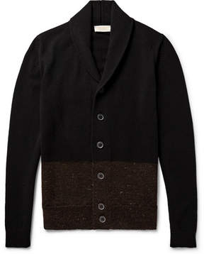 John Smedley Cairn Shawl-Collar Colour-Block Merino Wool And Cashmere-Blend Cardigan