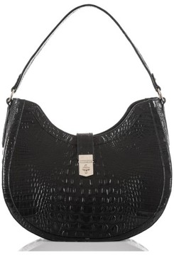 Brahmin Bethany Croc Embossed Leather Hobo - Black