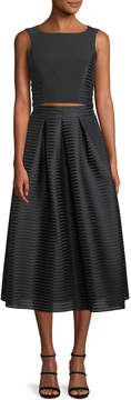 Black Halo Eve Arcadia Two-Piece Ribbed Cocktail Dress