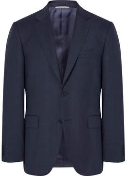 Canali Blue Venezia Slim-Fit Puppytooth Wool Suit Jacket