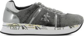Premiata Leather Sneakers Covered By Silver Pony Fur