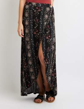 Charlotte Russe Floral & Paisley Maxi Wrap Skirt