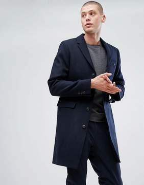 Jack Wills Burchale Wool Overcoat In Navy (Woven In United Kingdom)