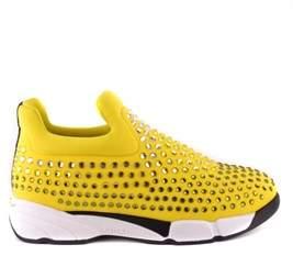 Pinko Women's Yellow Fabric Slip On Sneakers.