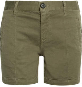 Frame Le Cuffed Cotton-blend Shorts - Army green
