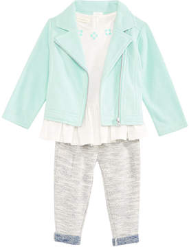 First Impressions 3-Pc. Moto Jacket, Top & Pants Set, Baby Girls (0-24 months), Created for Macy's