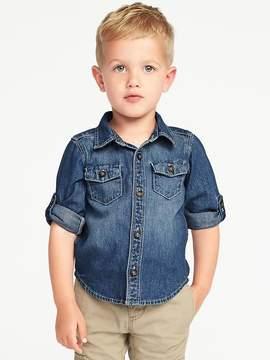 Old Navy Rolled-Sleeve Denim Shirt for Toddler Boys