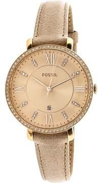 Fossil Women's Jacqueline ES4292 Rose-Gold Leather Japanese Quartz Fashion Watch