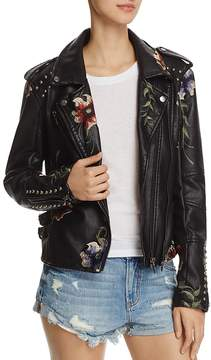 Blank NYC BLANKNYC Floral Embroidered Studded Faux Leather Moto Jacket