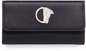 Versace Saffiano Leather Logo Wallet, Black